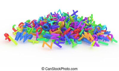 Stack of colorful alphabets letters from A to Z.