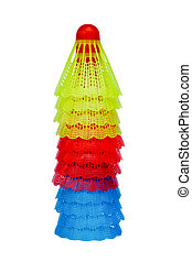 Stack of colorful badminton shuttlecocks