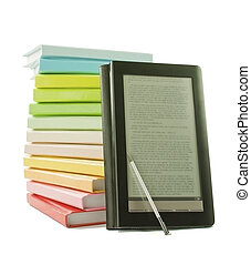 Stack of colorful books and electronic book reader on the white background
