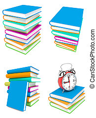 Stack of Colorful Books on White Background.