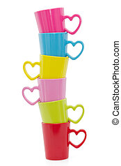Stack of colorful cups, isolated