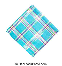 Stack of colorful dish towels isolated on white. Top view mockup