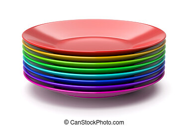 Stack of Colorful Dishes