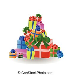 Stack Of Colorful Gift And Present Boxes Isolated On White Background