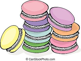 Stack of colorful macaron, macaroon almond cakes, sketch style vector illustration isolated on white background
