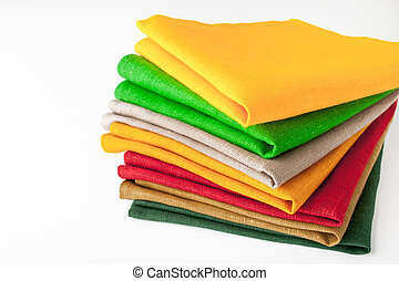 Stack of colorful napkins on the white background