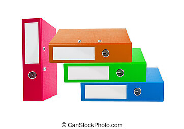 Stack of colorful office folders isolated on white