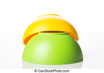 Stack of colorful plastic bowls