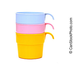 Stack of colorful plastic cups isolated on white