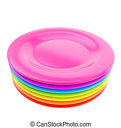 Stack of colorful plate dishes isolated on white