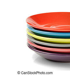 Stack of colorful plates. Menu concept