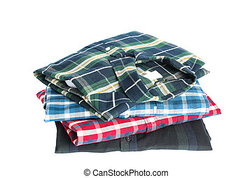Stack of colorful shirts isolated on white background