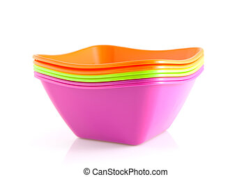 stack of colorful snack bowls