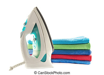 towels and electric iron