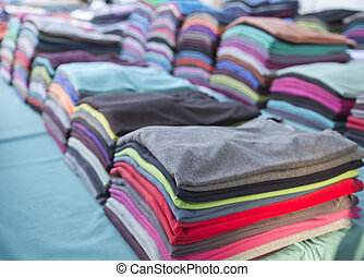 Stack of colorful tshirts