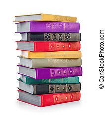 stack of colorful vintage books on an isolated white