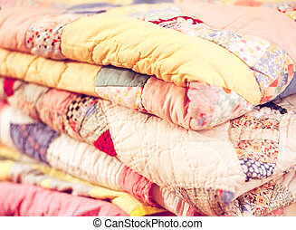 Stack of Colorful Vintage Quilts - Vintage Colorful Quilts...