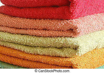 Stack of colorfull towels - Stack of colorfull bathroom...