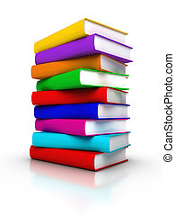 Stack of Colourful Books - 3D rendered stack of colourful ...