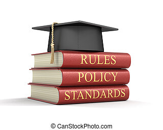 Stack of compliance and rules books. Image with clipping path