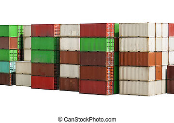Stack of Containers Cargo isolated on white background with clipping path