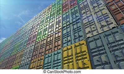 Stack of containers in a harbor, shipping at dockyard,...