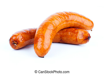 Stack of cooked sausages, on a white background