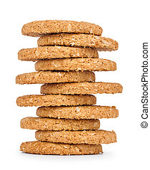 stack of cookies isolated white