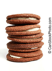 Stack of cookies with cream