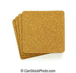 stack of cork sheet, copy space for text