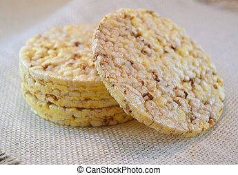 Stack of corn crackers on a table