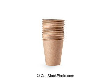 Stack of craft paper to to cups for coffee. Eco friendly take away cup