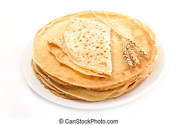 stack of crepe isolated on white background