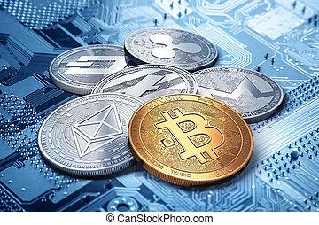 stack of cryptocurrencies: bitcoin, ethereum, litecoin, ...