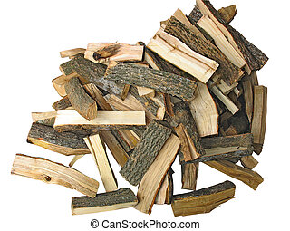 stack of cut logs fire wood isolated on white