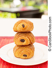 Stack of Danish pastry with chocolate
