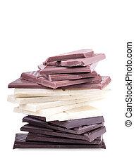 Stack of dark, white and milk chocolate