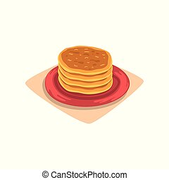 Stack of delicious pancakes on red plate. Tasty fast food dessert. Breakfast concept. Cartoon flat vector design for menu or recipe book