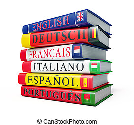 Foreign language study concept background - stack of dictionaries isolated on white background