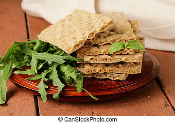 stack of dietary whole wheat crisp