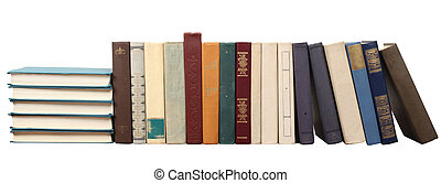 Stack of different books on a white background