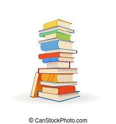 Stack of different colorful books on white