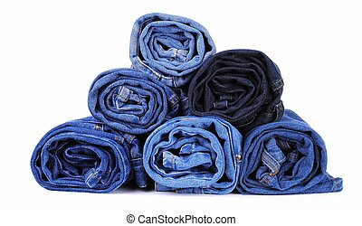 stack of different kind of blue jeans, on white background