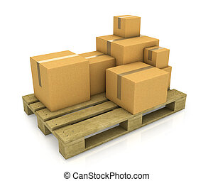 Stack of different sized carton boxes on wooden pallet isolated on white background