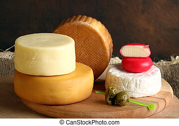 cheese - stack of different types of cheese