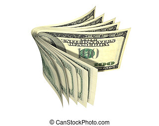 Stack of dollar banknote isolated