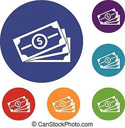 Stack of dollar bills icons set