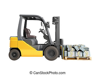 Stack of dollar money bills on wooden pallet with a forklift loader 3d render on a white background no shadow