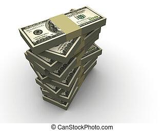 Stack of dollar - Stacks of dollars - 3d render