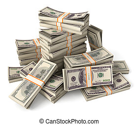 Stack of dollars. Conceptual illustration. Isolated on white...